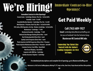 Immediate Contract-to-Hire Openings!