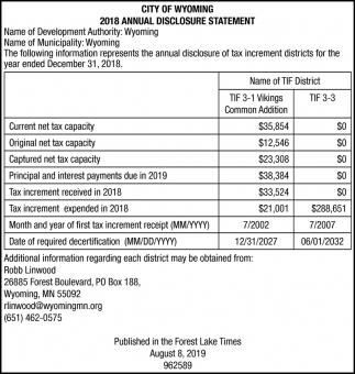 2018 Annual Disclosure Statement