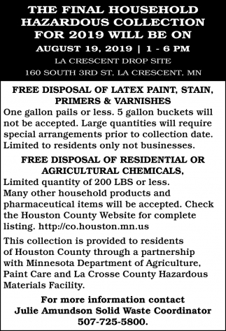 The Final Household Hazardous Collection