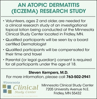 An Atopic Dermatitis (ECZEMA) Research Study