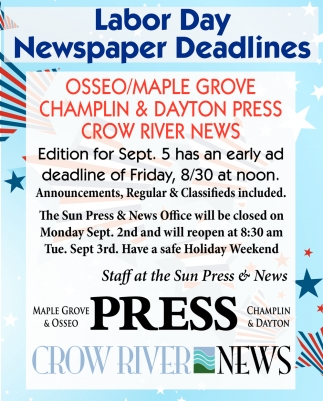 Labor Day Newspaper Deadlines