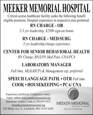 Various Job Openings, Meeker Memorial Hospital & Clinics
