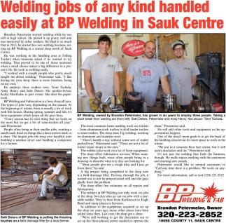 Welding Jobs of Any Kind Handled Easily at BP Welding in Sauk Centre