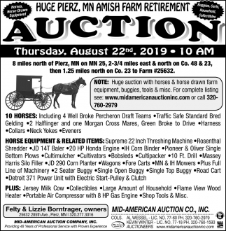 Huge Pierz, MN Amish Farm Retirement Auction