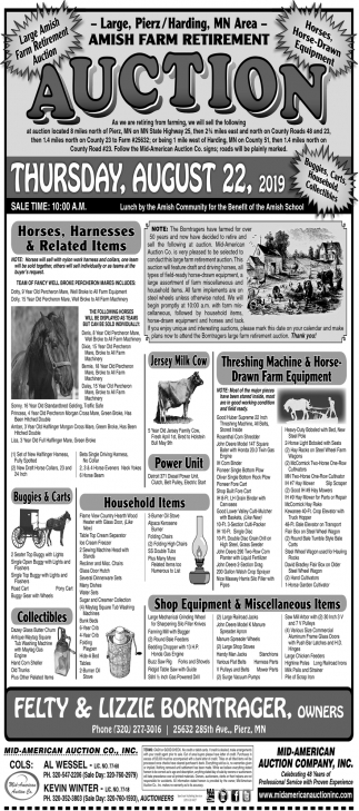 Large, Pierz / Harding, MN Area - Amish Farm Retirement Auction