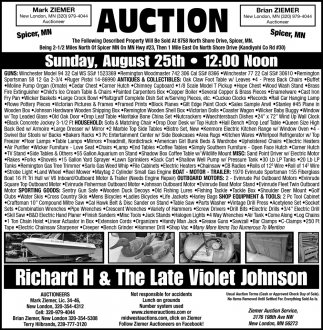 Auction Sunday, August 25th