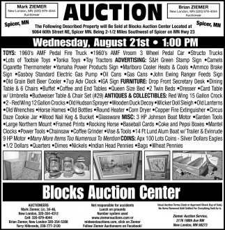 Auction Wednesday, August 21st