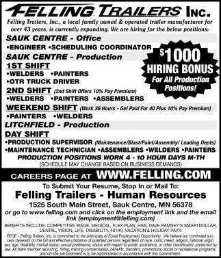$1000 Hiring Bonus for All Production Positions!