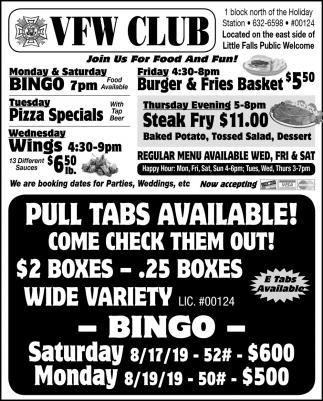 Pull Tabs Availble!