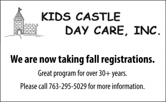 We are Now Taking Fall Registrations