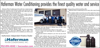 Haferman Water Conditioning Provides The Finest Quality Water & Service