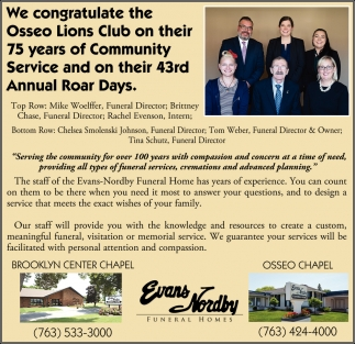 We Congratulate The Osseo Lions Club