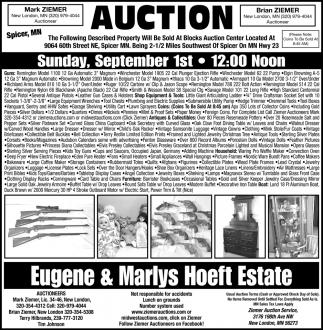 Auction Sunday, September 1st