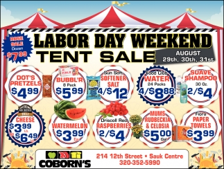 Labor Day Weekend Tent Sale