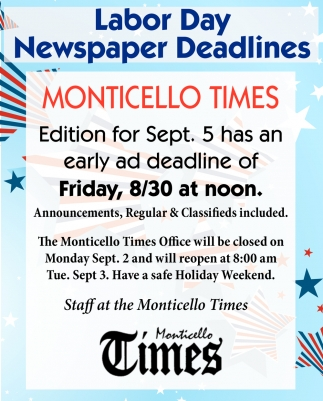 Labor Day Newspaper Deadlines