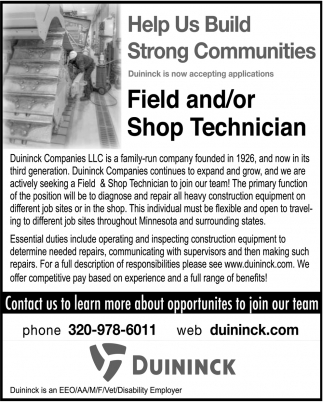Field and/or Shop Technician