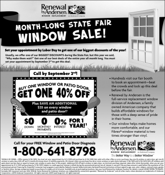 Month-Long State Fair Window Sale!