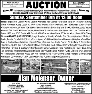 Auction Sunday, September 8th