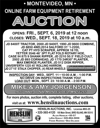Online Farm Equipment Retirement Auction