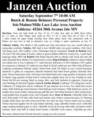 Butch & Bonnie Belmore Personal Property Auction