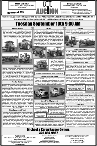 Auction Tuesday September 10th