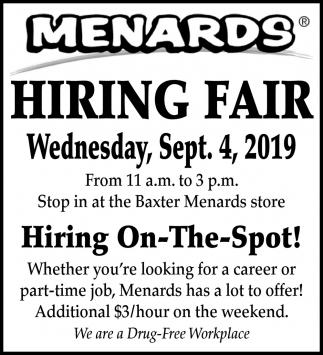 Hiring Fair, Menards, Minneapolis, MN
