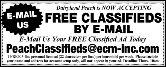 E-Mail Us Your FREE Classified Ad today