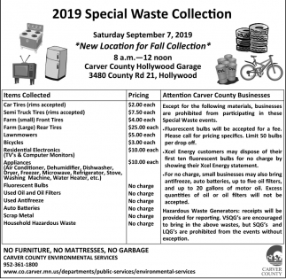 2019 Special Waste Collection