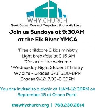 Join Us Sundays at 9:30am at the Elk River YMCA