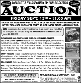Large Little Falls-Brainerd, MN Area Relocation Auction