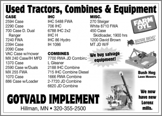 Used Tractors, Combines & Equipment
