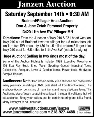 Brainerd/ Pillager Area Auction