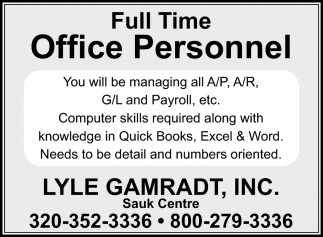 Full Time Office Personnel
