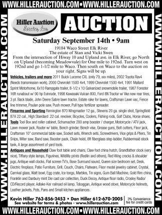 Auction Saturday September 14th