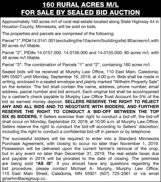 160 Rural Acres M/L For Sale by Sealed Bid Auction