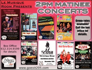 2PM Matinee Concerts