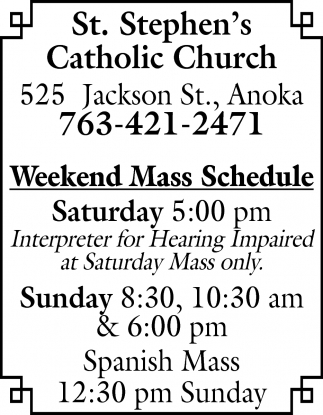 Weekend Mass Schedule