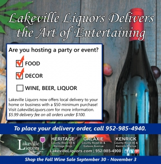 Lakeville Liquors Delivers the Art of Entertaining