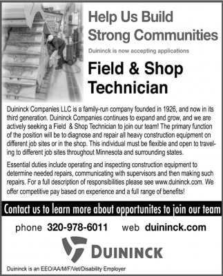 Field & Shop Technician