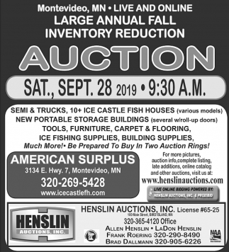 Large Annual Fall Inventory Reduction Auction