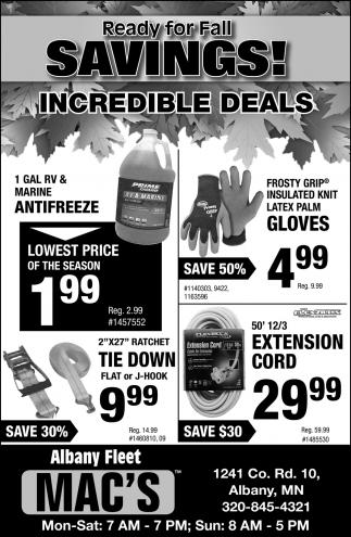Ready for Fall Savings!