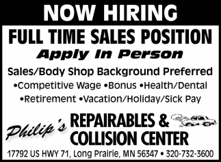 Full Time Sales Position