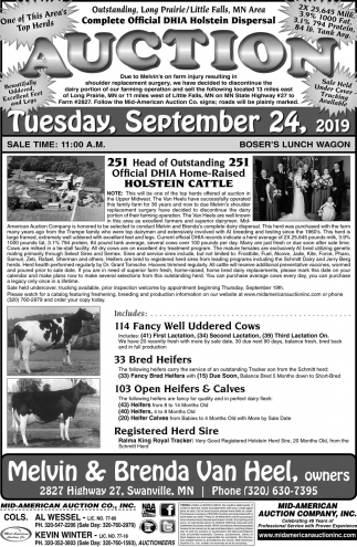 Complete Official DHIA Holstein Dispersal Auction