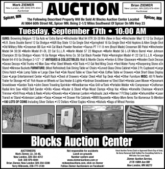 Auction Tuesday, September 17th