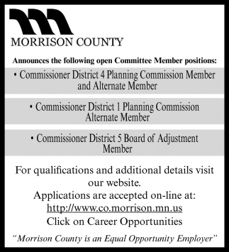 Follwing Open Committee Member Positions