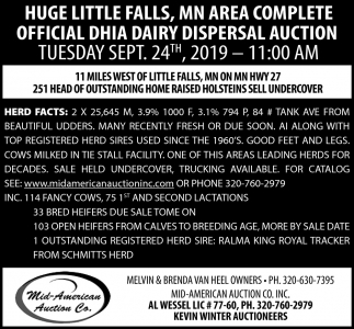 Huge Little Falls, MN Area Complete Official DHIA Dairy Dispersal Auction