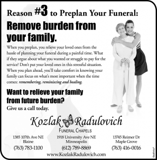 Reason #3 to Preplan Your Funeral