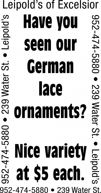 Have You Seen Our German Lace Ornaments?