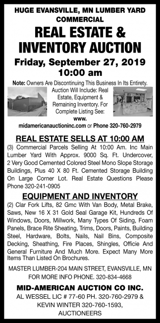 Huge Evansville, MN Lumber Yard Commercial Real Estate & Inventory Reduction Auction