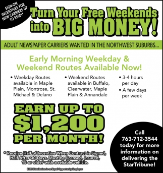 Turn Your Free Weekends Into Big Money!
